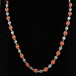"""Other - 30"""" Red & Silver Coffee Bean Chain"""